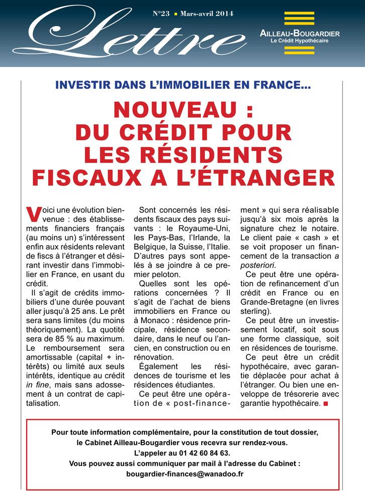 Nouveau : Du crédit pour les résidents fiscaux à l'étranger
