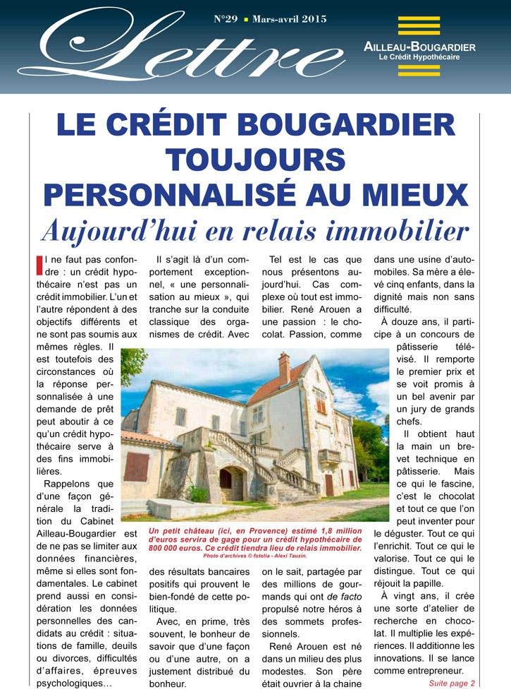 Le crédit Bougardier toujours personnalisé au mieux