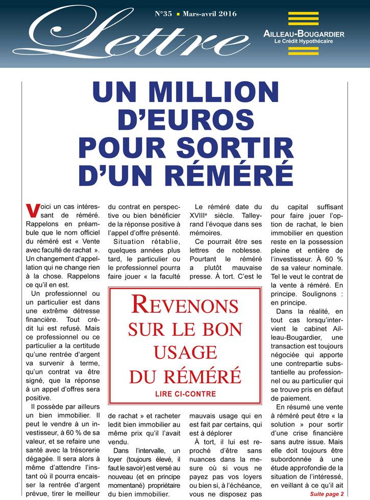 Un Million d'euros pour sortir d'un réméré