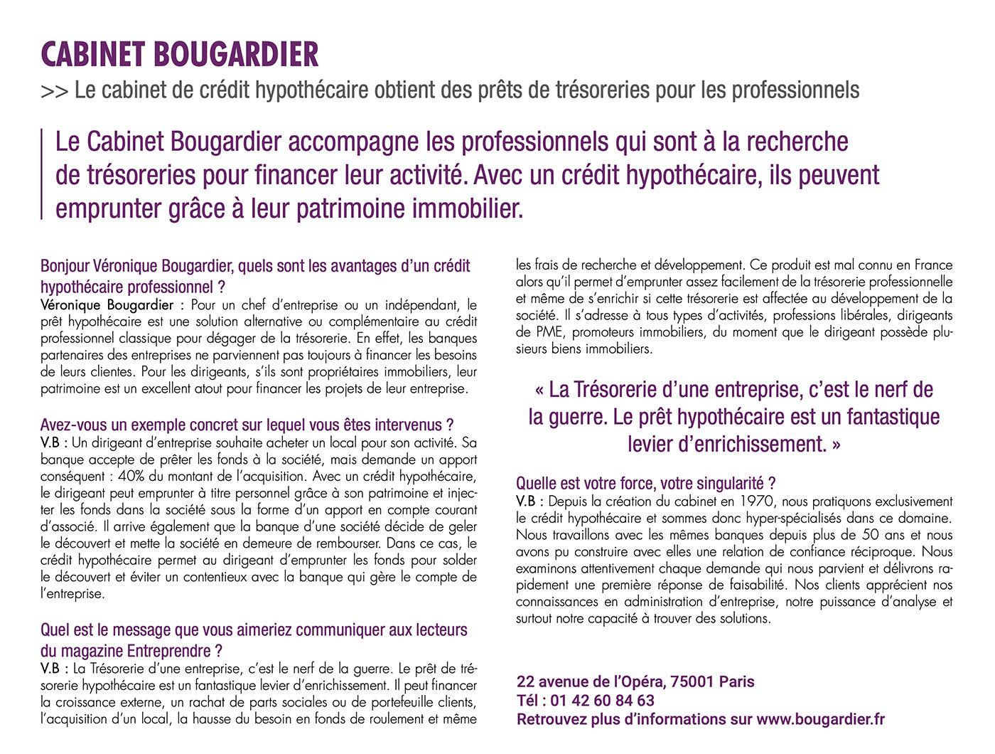 Interview V Bougardier dans entreprendre