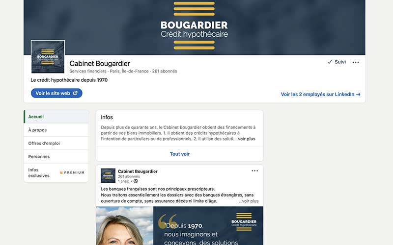 Page Linkedin du Cabinet Bougardier, capture d'acran